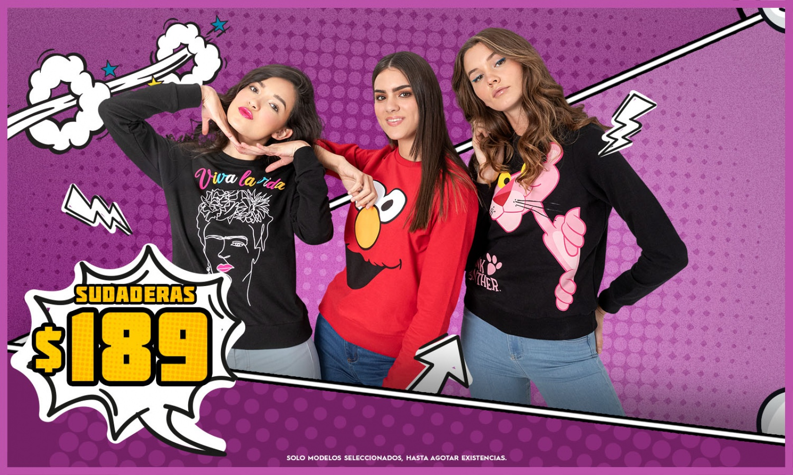 Tres mujeres con sudadera
