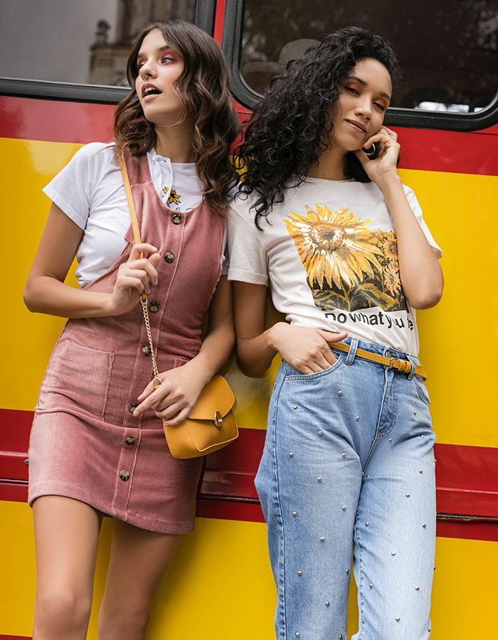 jeans de mezcilla para mujer y overol y vestido pichi rosa
