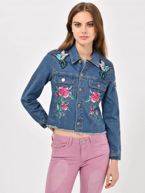 Chamarra Mezclilla Flores
