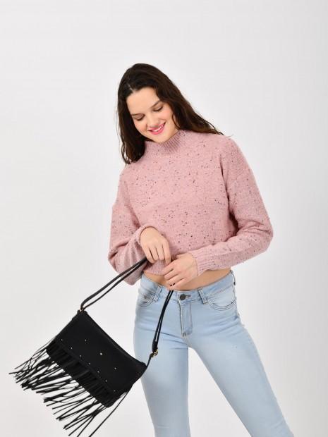 Suéter Cropped Tejido