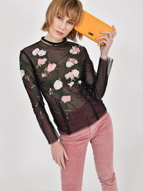Blusa Floral Transparente