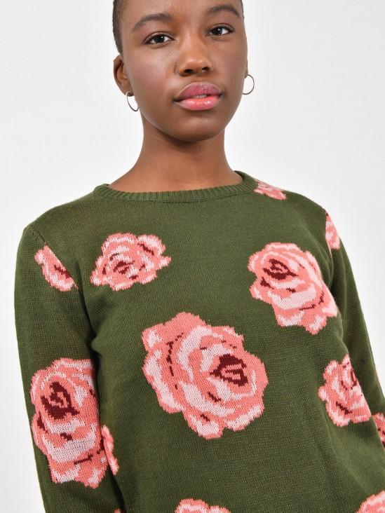 Suéter Tejido Rosas