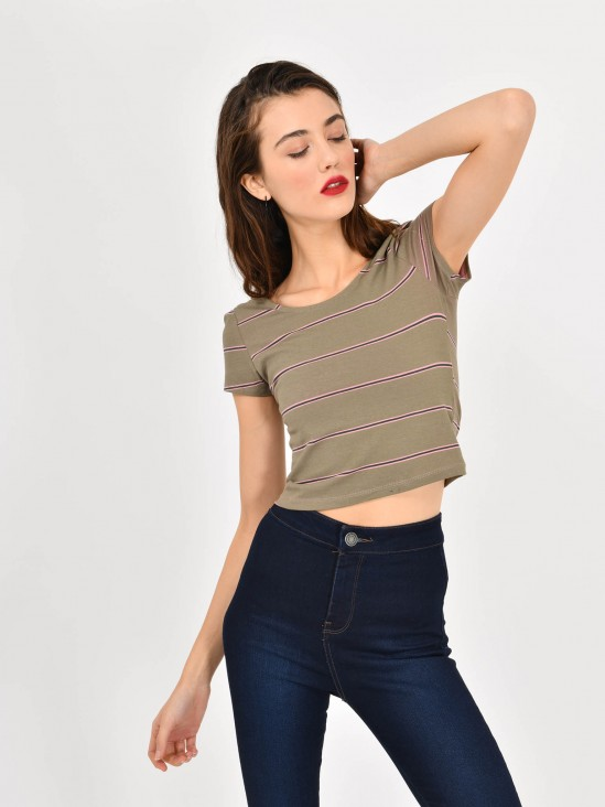 Playera Cropped Rayas
