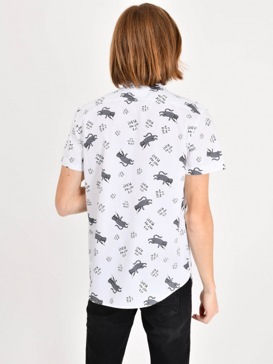 Playera Estampado Gatos