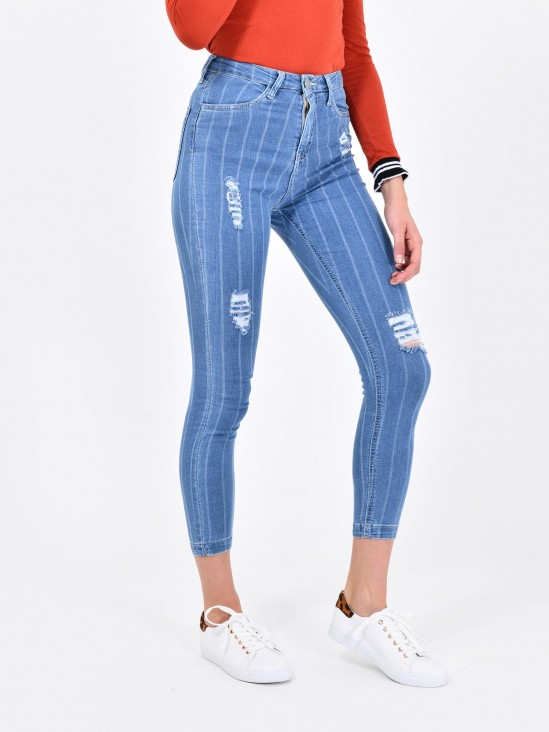 Jeans Rayas Tiro Alto