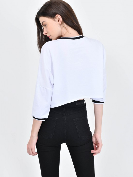 Playera Cropped Texto