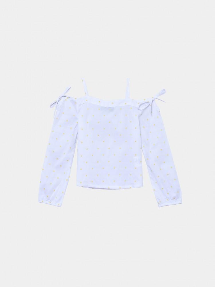 Blusa Blanca Con Estampado Puntos   CCP