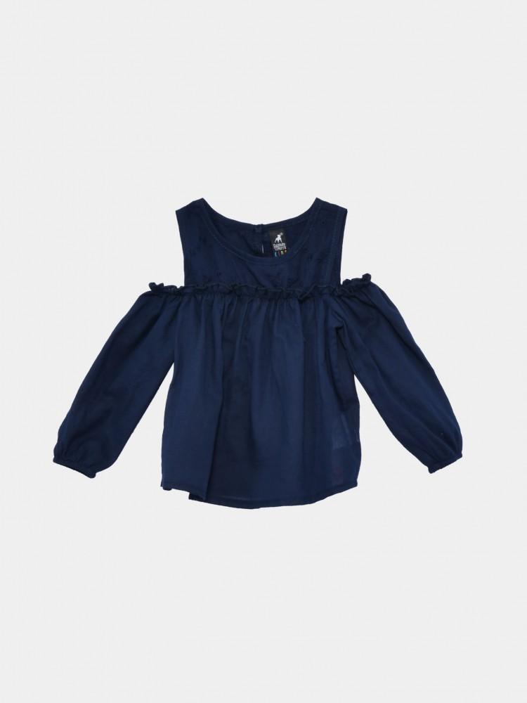 Blusa Azul Con Hombros Descubiertos | CCP