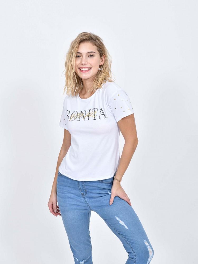 Playera Blanca Con Texto 'Bonita'   CCP