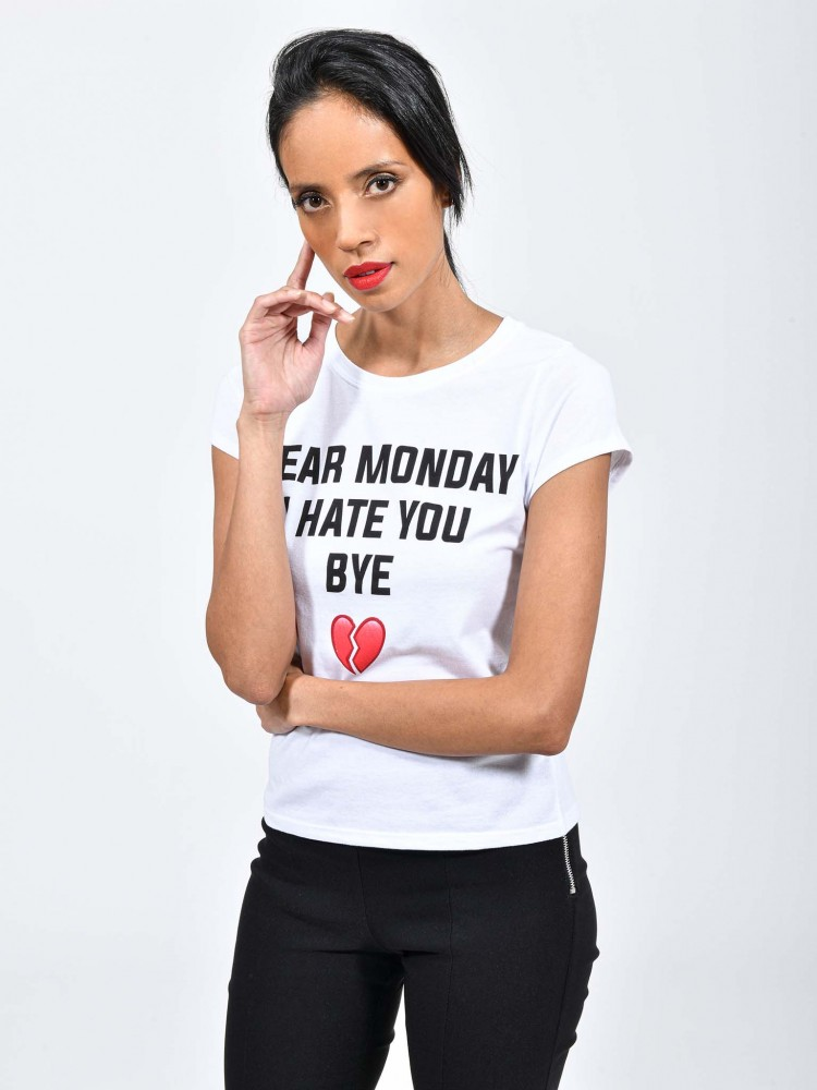 Playera Blanca Texto 'Dear Monday I Hate You Bye'   CCP