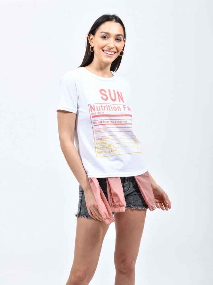 Playera Blanca Estampado 'Sun' | CCP