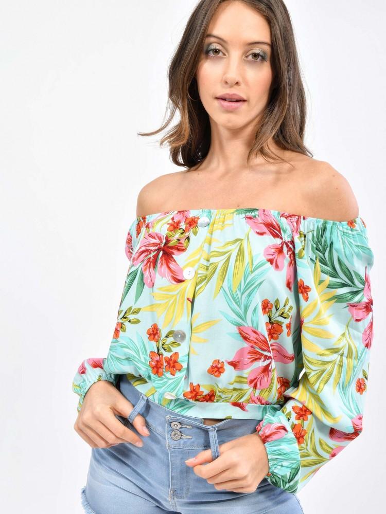 Blusa Cuello Barco Print Tropical | CCP