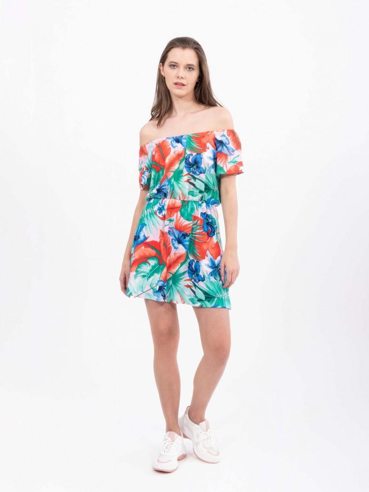 Vestido Tropical Hombros Descubiertos | CCP