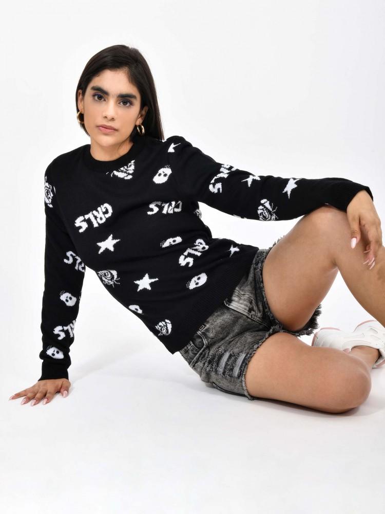 Suéter Negro Print 'Grls' | CCP