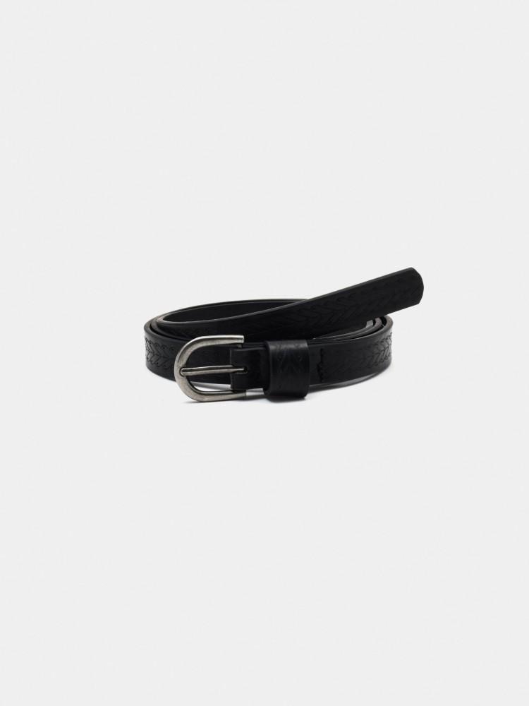 Cinturón Delgado Troquelado Negro | CCP