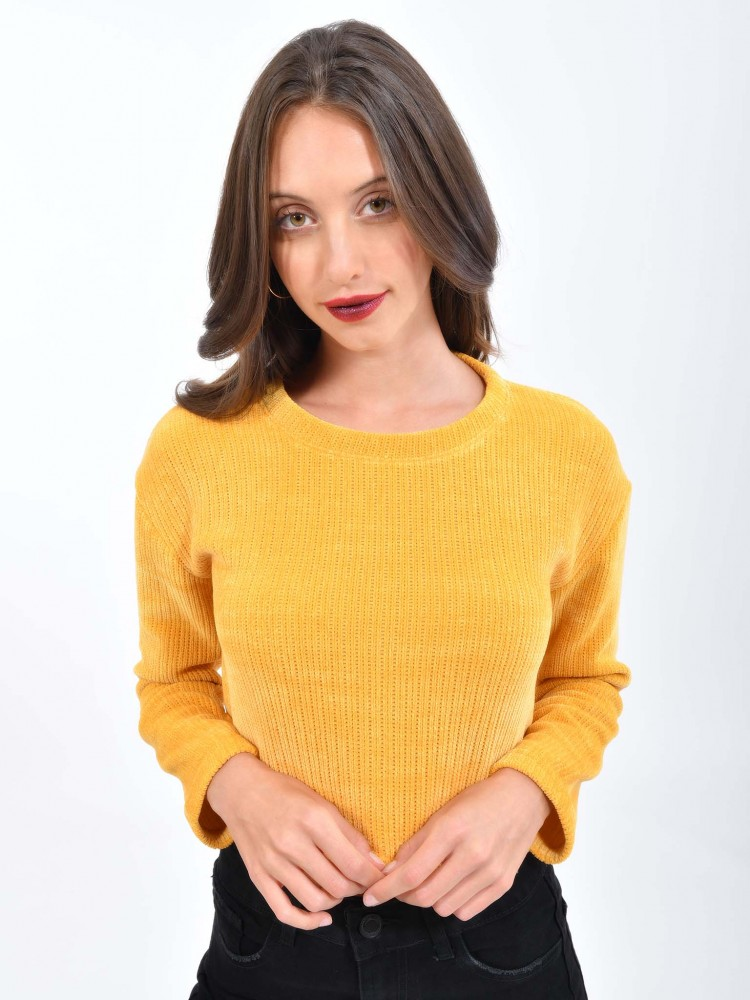 Suéter Cropped Chenille Amarillo | CCP