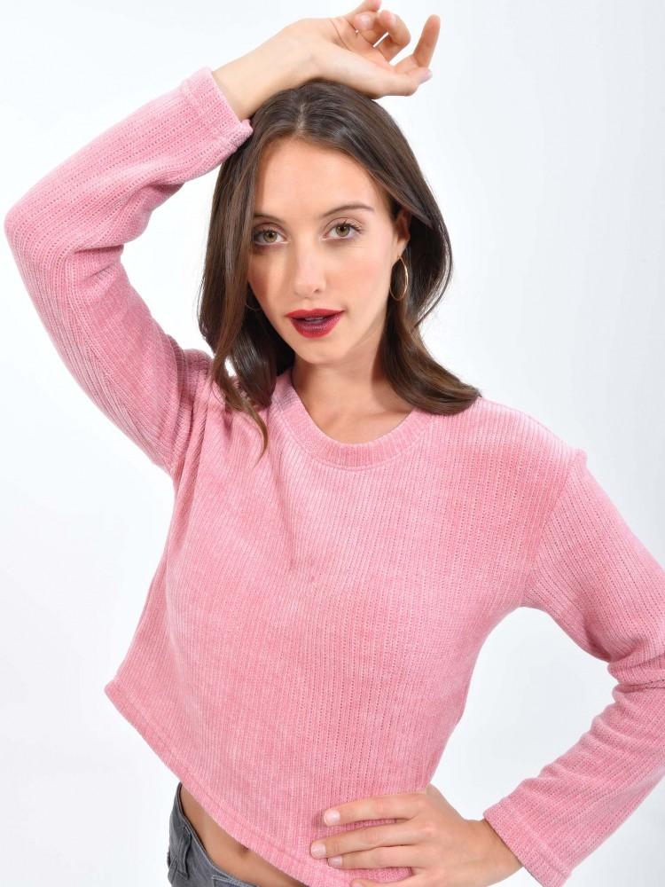 Suéter Cropped Rosa   CCP