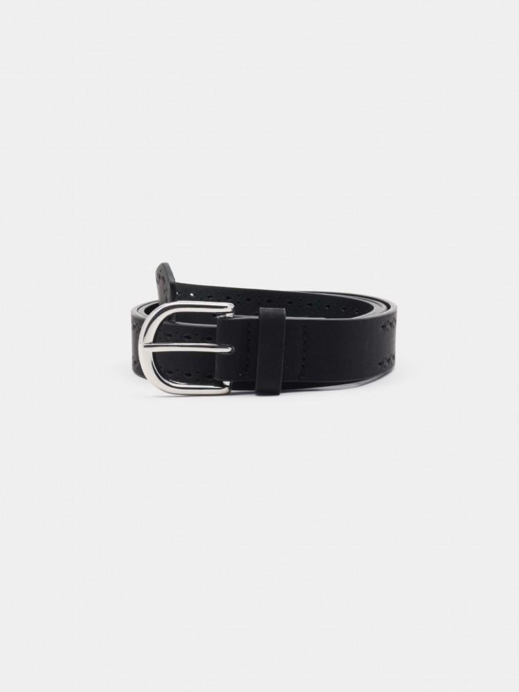 Cinturón Negro Troquelado Hebilla Clásica | CCP