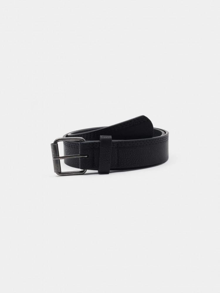 Cinturón Negro Hebilla Clásica Cuadrada   CCP