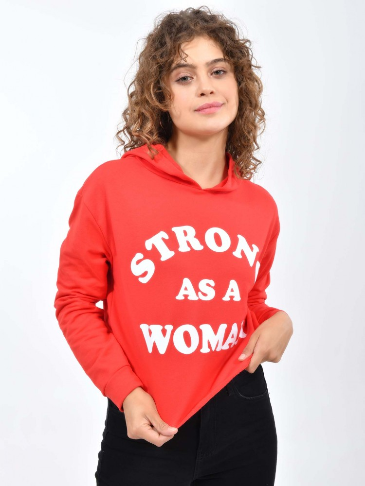 Sudadera Roja con Capucha 'Strong As a Woman' | CCP