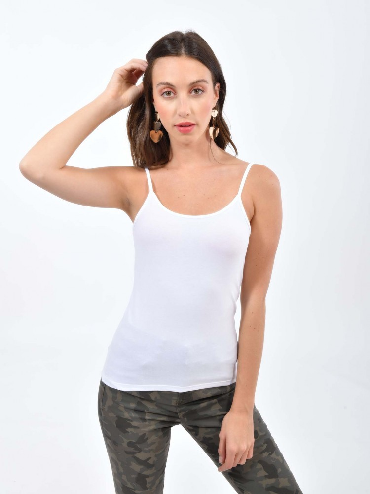 Camiseta Blanca Ajustada Cuello Redondo   CCP