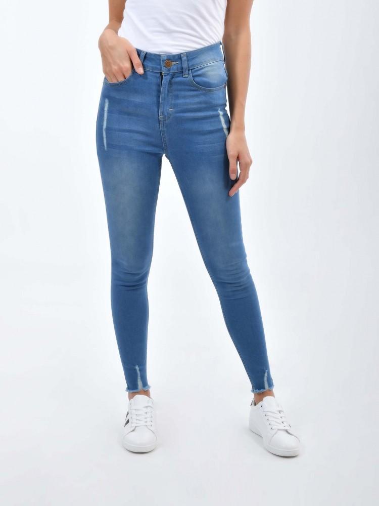 Jeans Tiro Alto Destrucciones Stone Medio Cuidado Con El Perro