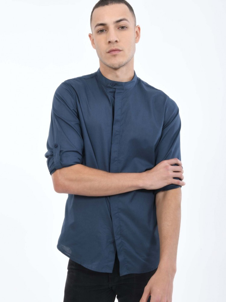 Camisa Azul Cuello Mao | CCP