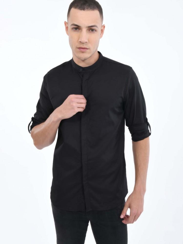 Camisa Negra Cuello Mao | CCP