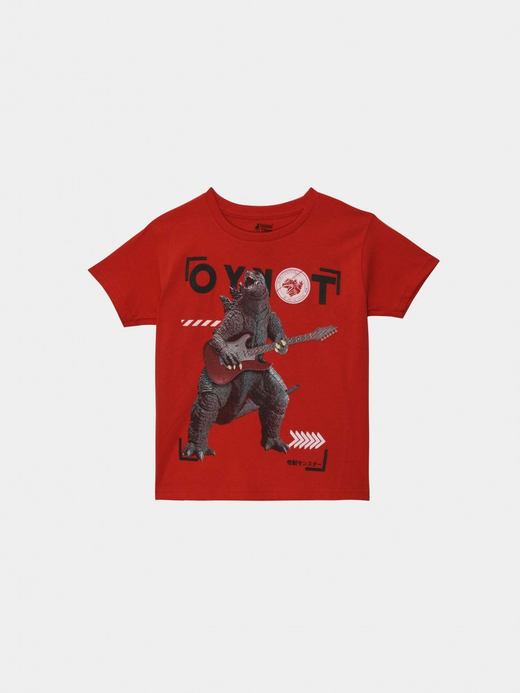 Playera Roja Estampado Godzilla Rock | CCP